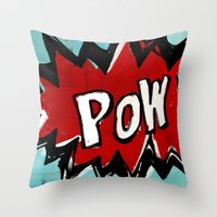 comic book Throw Pillows featuring Comic Book: Pow! by Ed Pires