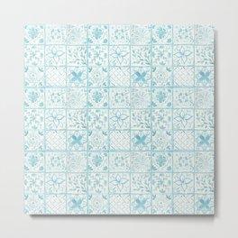 Light Blue Watercolor Painted Tiles  Metal Print