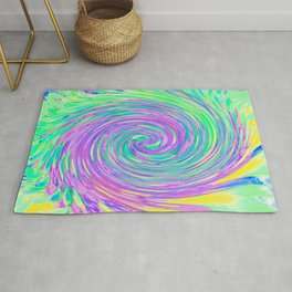 Turquoise Blue and Purple Abstract Swirl Rug