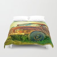 truck Duvet Covers featuring Old Rusty Bedford Truck by Wendy Townrow