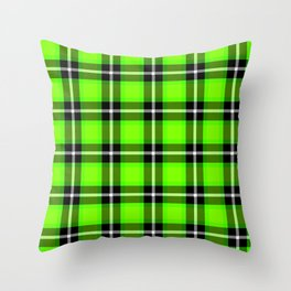 UFO GREEN Chartreuse (#7fff00) color themed SCOTTISH TARTAN Checkered Fabric Pattern texture Throw Pillow
