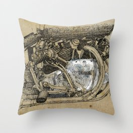 Vincent motorcycle engine motor detail, vintage color, gift for men Throw Pillow