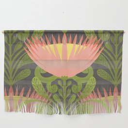 King Protea Flower Pattern - Gray Wall Hanging