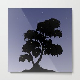 Firefly Tree Sunset with Stars Metal Print