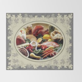 Thanksgiving Dinner and Autumn Decoration. Throw Blanket