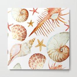 Sea Life Pattern 09 Metal Print