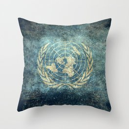 The United Nations Flag - Vintage version Throw Pillow