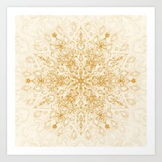 Sepia Snowflake Doodle Art Print