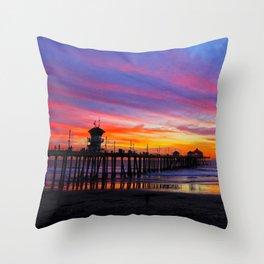 Huntington Beach Sunset   ~  12/15/13  Throw Pillow