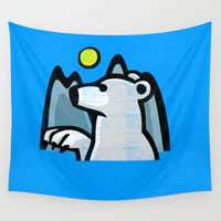 polar bear Wall Tapestries featuring polar bear by jenapaul