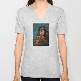 03. Christmas Chimpanzee Unisex V-Neck