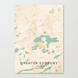 Greater Sudbury, Canada - Vintage Map Canvas Print