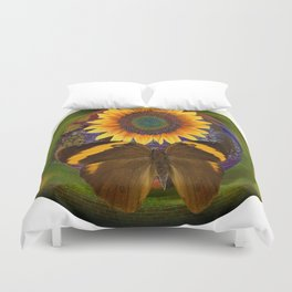 SunFlower and the Butterfly Duvet Cover