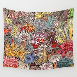 Clown fish and Sea anemones Wall Tapestry