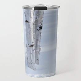 Paper Birch Trees in Snow Travel Mug