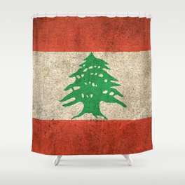 Old and Worn Distressed Vintage Flag of Lebanon Shower Curtain