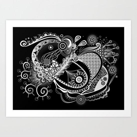 Spring tangle, black Art Print