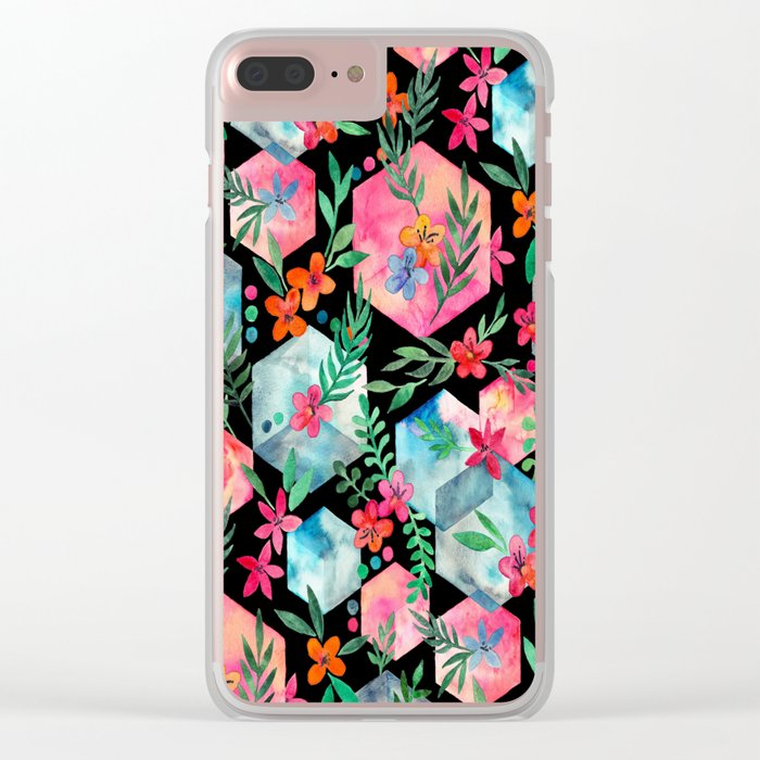 Whimsical Hexagon Garden on black Clear iPhone Case