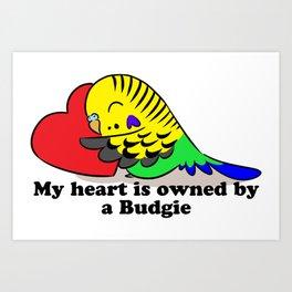 My heart belongs to a green budgie Art Print