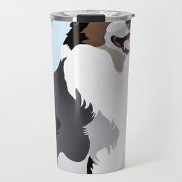 Woof on light blue Travel Mug
