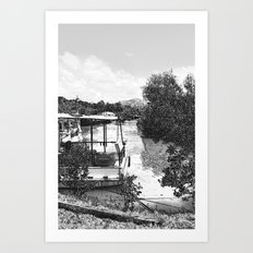 Boats and river in black and white Art Print