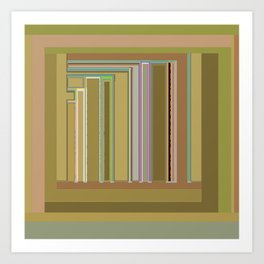 Urban Landscape in greens and browns, graphic design Art Print