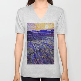 Lavender Fields with Rising Sun by Vincent van Gogh Unisex V-Neck