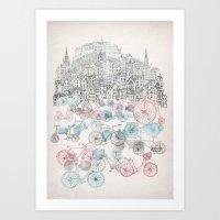 bikes Art Prints featuring Old Town Bikes by David Fleck