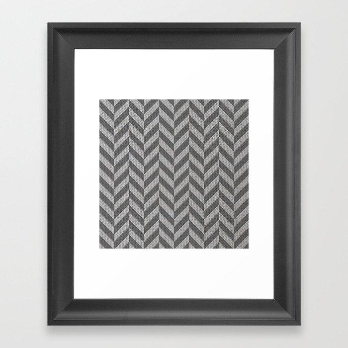 Smoke Herringbone Framed Art Print