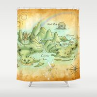 neverland Shower Curtains featuring Neverland Map by Mercedes Jennings