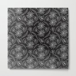 Linear African drawing pattern Metal Print