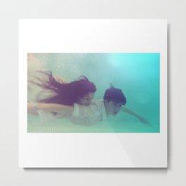 A Young Couple Swim Metal Print
