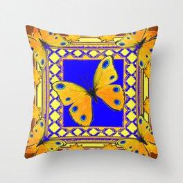 Golden Yellow Yellow Spotted Butterflies Brown-Blue Art Throw Pillow