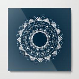 Precious white mandala on blue Metal Print