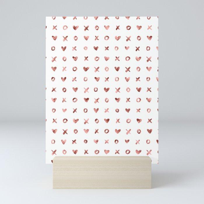 XOXO Love Me Rose Gold Pattern Mini Art Print