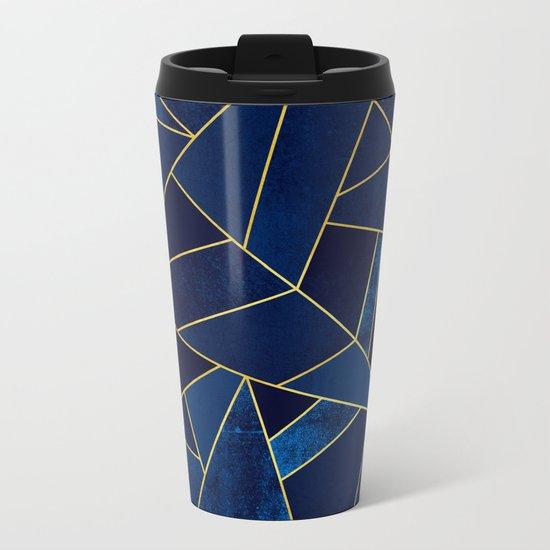 Blue stone with yellow lines Metal Travel Mug