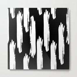 Black And White Retro Bold Paint Lines Pattern Metal Print