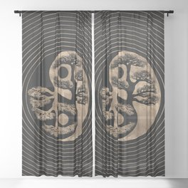 Yin Yang Tree Black and Gold Sheer Curtain