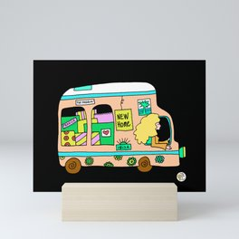 Vintage campervan flowerpower van Mini Art Print
