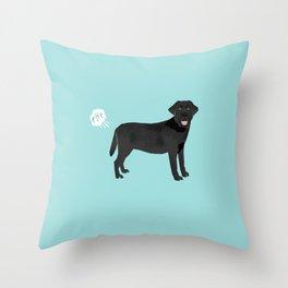 Black Lab funny fart dog breed gifts labrador retrievers Throw Pillow