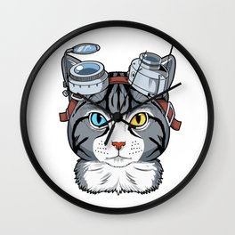 Steampunk Cat Gift Print Cosplay Clockwork Cat Anime Print Wall Clock