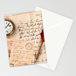 Vintage Old Paper Pen Watch Writing Stamp Postcard Stationery Cards