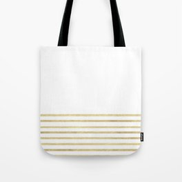 White and Gold Stripes Tote Bag