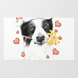 Border Collie And Hearts Rug