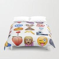emoji Duvet Covers featuring Emoji  by rivercbishop