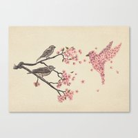 birds Canvas Prints featuring Blossom Bird  by Terry Fan