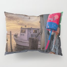 Fishing Boat and Gulls with Fishing Buoys at Sunrise Pillow Sham