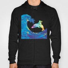 Hokusai Rainbow & the Angel riding a dolphin Hoody
