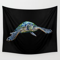 sea turtle Wall Tapestries featuring Sea Turtle by Tim Jeffs Art
