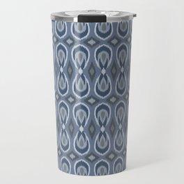 Ikat Teardrops in Slate Blue and Gray Travel Mug